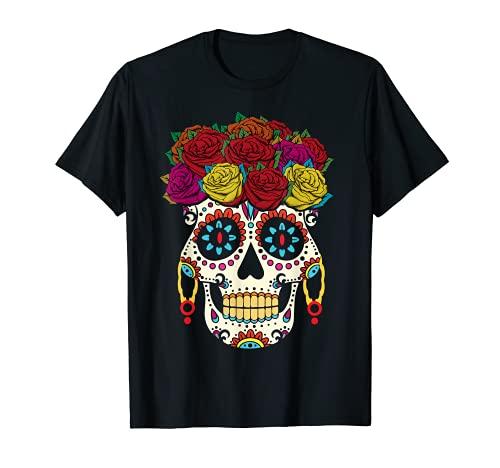 Halloween flor azcar crneo almas da Muertos da de muertos Camiseta