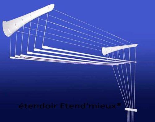 ETEND'MIEUX® séchoir à Linge Mural 5 Barres (Largeur 47 cm) x 90 cm, capacité d'étendage 4m50