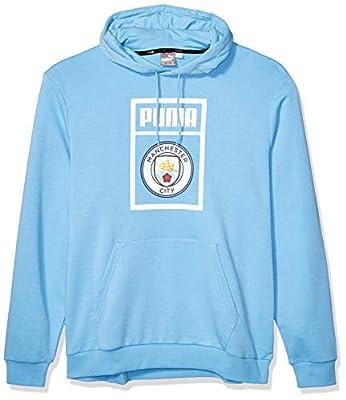 PUMA Men's Standard Manchester City MCFC Shoe Tag Hoody, Team Light Bluepuma White, S