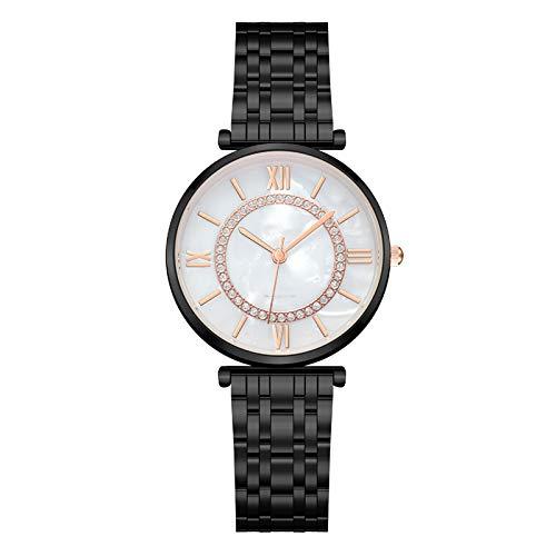 SFBBBO Reloj niño Relojes Relojes de Pulsera de Diamantes de Moda Acero Inoxidable Correa de Malla Plateada Reloj de Cuarzo Femenino Negro Blanco