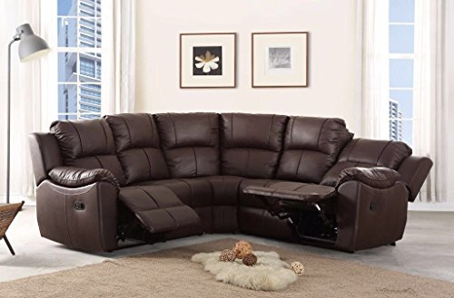 New Marbella Large Leather Reclining Corner Sofa Recliner (Brown)