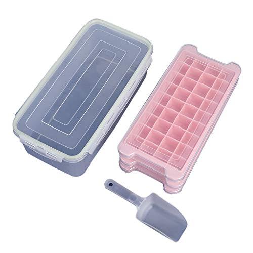 CFYP Eiswürfelbehälter Silikon-Kombiform, Easy-Release-Silikon und Flexible Gefrierformen Wiederverwendbar mit Eisschaufel und Eisklemme für Gefrierschrank und Babynahrung (3er-Pack)