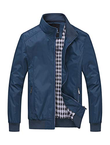 PASOK Men's Lightweight Softshell Coat Outerwear Zipper Windbreaker Flight Bomber Jacket Blue XL