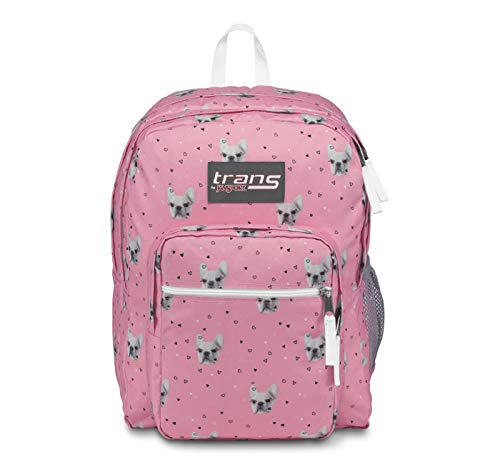 """JanSport Trans 17"""" SuperMax Backpack Fierce Frenchies Pink Dog Print"""