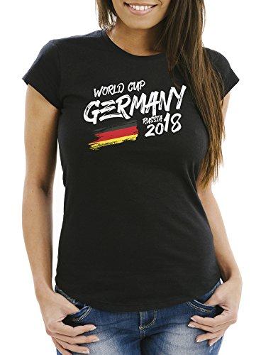 MoonWorks® Damen Fan-Shirt Deutschland WM 2018 Fußball Weltmeisterschaft Trikot Flagge schwarz XXL