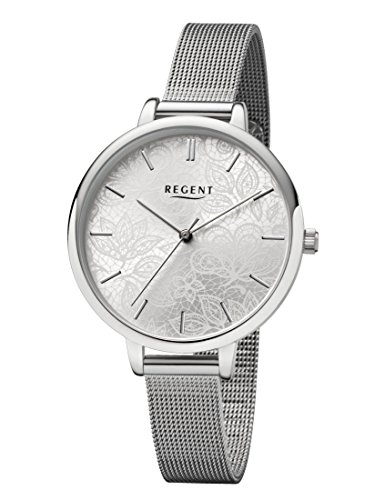 Regent Damen Analog Quarz Uhr mit Edelstahl Armband 12221050