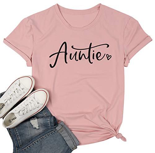 Auntie Shirts Women Cute Aunt Gifts Tee Shirts Casual Funny Graphic Tee Tops for Auntie Gift Size XL (Pink)