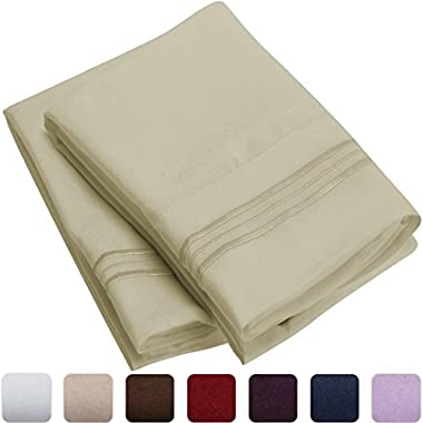 Mellanni Luxury Pillowcase Set - HIGHEST QUALITY Brushed Microfiber 1800 Bedding - Wrinkle, Fade, Stain Resistant - Hypoallergenic (Set of 2 Standard Size, Beige)