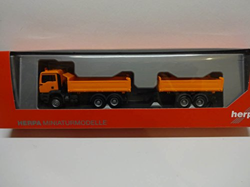 Herpa 308090 Fahrzeug Man TGS M Euro 6c Baukipper-Tandem-Hängerzug