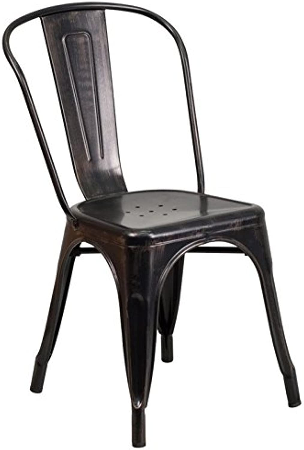 Bowery Hill Metal Stackable Dining Chair in Black-Antique gold