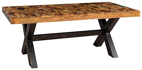 Biscottini - Mesa maciza rectangular o cuadrada, estilo country shabby de comedor, mesa de oficina, reunión, humo