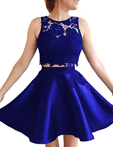 Rieshaneea Wedding Womens Short Two Pieces Homecoming Dresses Lace Prom Party Gowns Royal Blue 2
