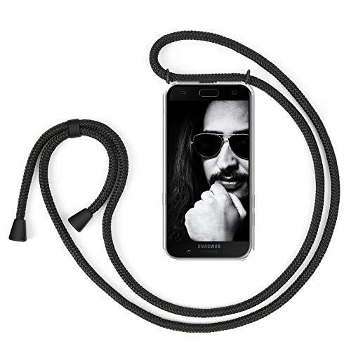ZhinkArts Collana Porta Cellulare Compatibile con Samsung Galaxy A5 (2017) (A520) - Custodia da Collo per Smartphone, Nastro - Cover con Cordoncino da Indossare - Nero/Nero
