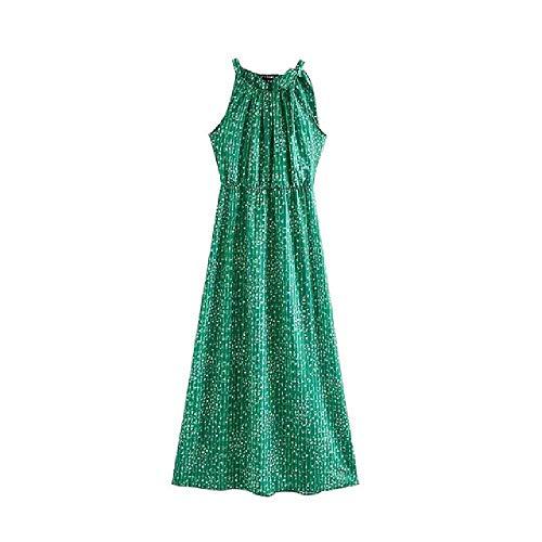nobrand Kleid Vintage stilvolle Blumendruck MaxiFrauenMode Halfter Kragen ärmellose elastische Taille weiblich