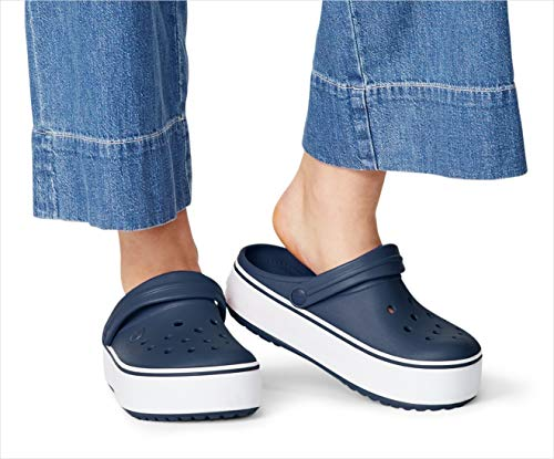 Crocs Men's and Women's Crocband Clog | Platform Shoes, Black/White, 8