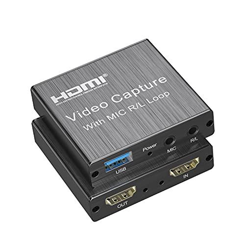 KUPVALONTarjeta de Captura de Video, 4K HDMI a USB 2.0 Vídeo Game Capture, Convertidor Video Audio 1080P 30fps para Juegos, Transmisión, Enseñanza, Soporta Windows 10, Mac OS, OBS, PS4, Switch, Xbox One