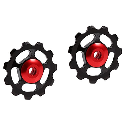 Rueda de Guía de Bicicleta,2Pcs Polea de Cambio Trasero de Rueda de Bicicleta de Montaña de Carretera MTB 11T CNC Aleación de Aluminio Desviador Rueda de Cambio de Guía(Negro + Gorra roja)