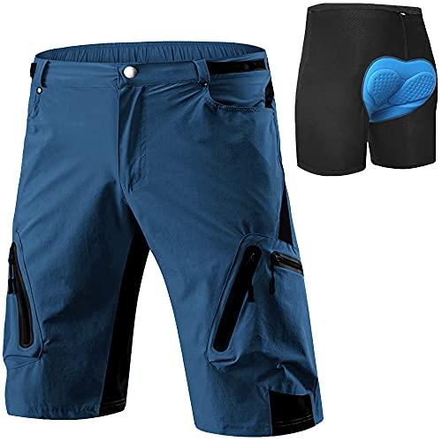 Cycorld MTB Hose Herren Radhose, Schnelltrocknend Mountainbike Hose Fahrradhose mit 4D Sitzpolster, Elastische Outdoor Sport Herren Radlerhose MTB Bike Shorts (Indigo mit Unterwäsch, XL)