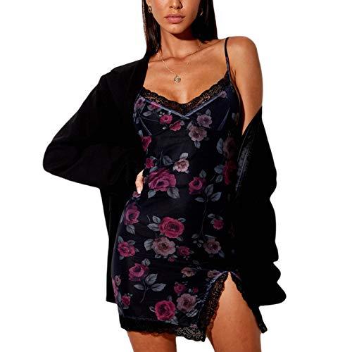 Mini Vestido Corto de Encaje Vestido Ajustado sin Manga para Mujer Vestido de Tirantes Sexy Elegante con Dobladillo Dividido y Estampado Floral o Animal (Negro-Rosa, M)
