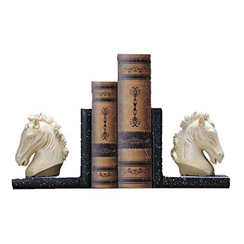 Cabeza de Caballo Bookends Heavy Bookend Bookend Fianza Fijación Marco Decoración para el hogar Soporte de Animales Art Sookend Set Set