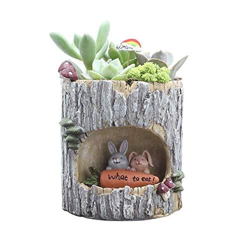 KMYX Succulent Flower Garden Accueil Mini Trou Cache-Pot Bureau Cadeau Bureau Pastoral Décoration Chambre Aeration (Color : Rabbit)
