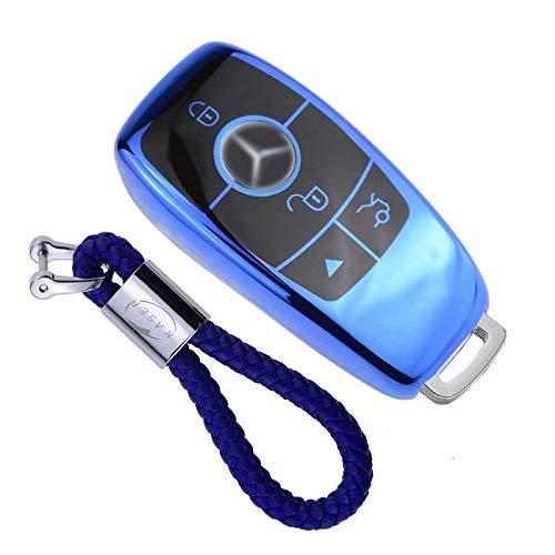 kaser Funda de Silicona para Llave Mercedes – Cover Carcasa de TPU Cromo Suave para Keyless Mercedes Classe E CLA CLK GLA GLC Protección Llaveros Mando a Distancia (Azul)