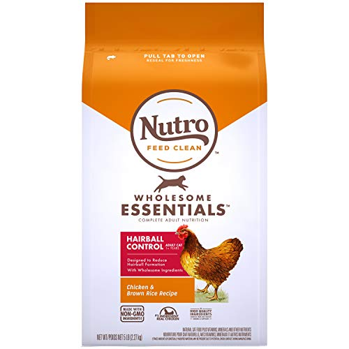 NUTRO Wholesome Essentials Natural Dry Cat Food, Hairball Control Adult Cat Chicken & Brown Rice Recipe, 5 lb. Bag