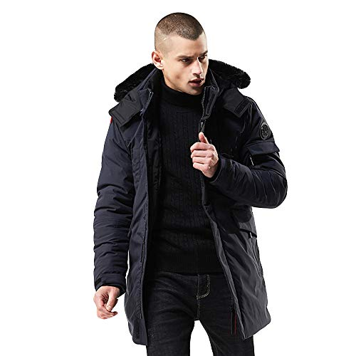 Wadonerful Outwear Men Long Sleeve Windproof Winter Warm Thick Cotton Coat Zipper Mid Long Hooded Jacket Trench Overcoat (XXL, Navy)