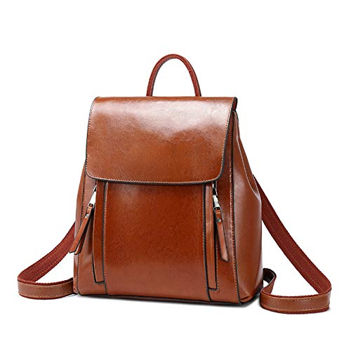 JIEXIAO Ladies Backpack, Genuine Leather Handbag, Fashion Oil Wax Leather Backpack,Brown