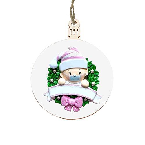 Colgantes de madera del árbol de navidad, primer adorno navideño personalizado del bebé para la decoración del árbol de navidad