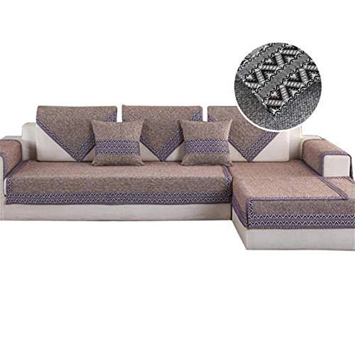Baumwoll-Leinen-Sofabezüge Wohnzimmer-Schnittsofa-Bezug Couchbezug Sofaschoner ecksofa Küchen-/Lounge-Sofa-Schutzhülle 1/2/3/4 Sitzer Couchabdeckung,Coffe,45x45cm Pillow case