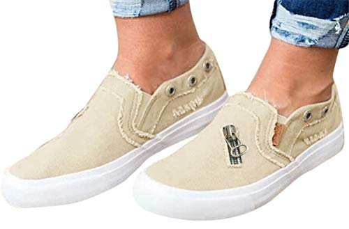 Womens Canvas Shoes Flat Sports Running Shoes Summer Zipper Beach Shoes Casual Single Shoes by Gyouanime Beige