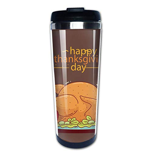 Taza de café de Acero Inoxidable Taza de café Reutilizable Adecuada para Viajes y Trabajo al Aire Libre Taza Tazas,Feliz dia de accion de gracias pavo