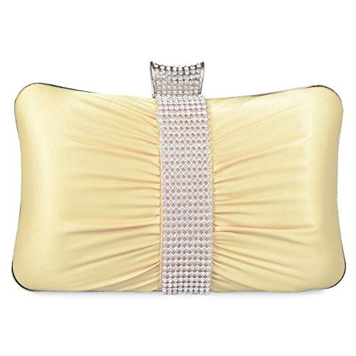EULovelyPrice Pochette da donna a pieghe da sera in raso con pochette da sposa per le donne/ragazze (beige)