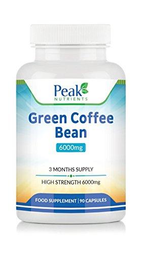 Estratto di Chicchi di Caffè Verde 6000mg, 90 Capsule (3 Mesi di Fornitura), ad Alta Resistenza Per Massimi Risultati, Integratore per Controllo Peso - Prodotto in Regno Unito Secondo gli Standard GMP