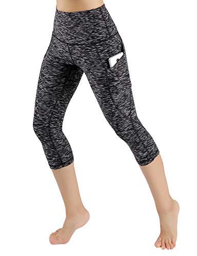 ODODOS Women's High Waist Yoga Capris with Pockets,Tummy Control,Workout Capris Running 4 Way Stretch Yoga Leggings with Pockets,SpaceDyeMattBlack,Medium