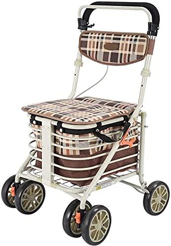 KMILE Marco para Caminar Caminante Estándar Rollator Rollator Aluminio Cuatro Ruedas Rollator Ayuda para Caminar, Asiento y Cesta de Compras, Altura Ajustable, Luz y diseño Seguro (Color : Default)