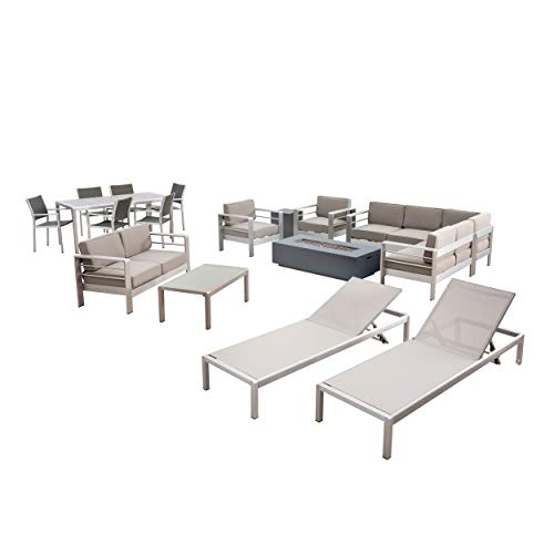West Coral 7 Piece Dining Set with Faux Wood Top + Sofa Set + 4pc Chat Set + Light Gray Fire Pit + 2 Chaise Lounges