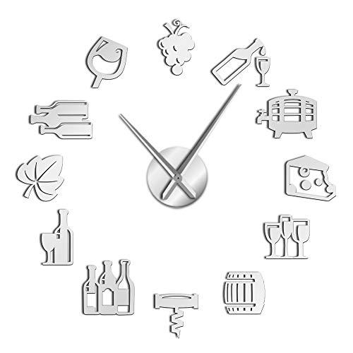 Queso y Vino Pegatinas de Arte de Cocina Moderna DIY Reloj de Pared Grande Gigante Bebida alcohólica Pub Bar Letrero Tornillo de Corcho Ideas de Regalos Decorativos para él y para Ella - Regalo Vint
