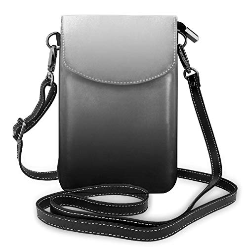 IUBBKI Bolso bandolera de piel sintética suave para teléfono celular con correa de hombro para mujer Crossbody hombro bolsa (negro gris blanco degradado)