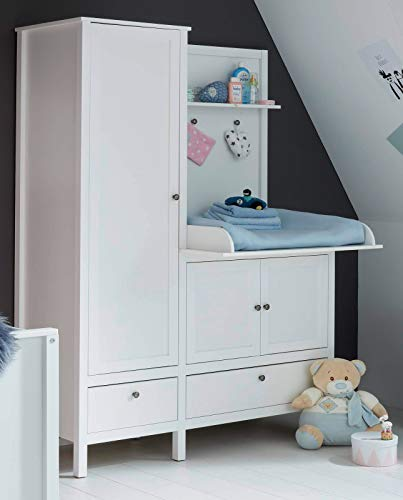 Babyzimmer Kleiderschrank mit Wickelkommode Ole in weiß Landhaus Wickelschrank 138 x 192 cm