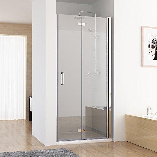 MIQU 75-120 x 195 cm Nischentür 2 TLG. Faltwand Aufsatz Duschwand Duschabtrennung (90cm)