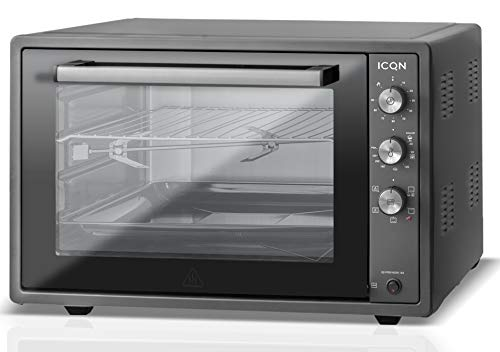 ICQN 60 Liter XXL Minibackofen | 1800 W | Umluft | Pizza-Ofen | Doppelverglasung | Drehspieß | Timer | inkl. Backblech Set | Elektrischer Mini Ofen | 40°-230°C | Emailliert Black | Anthrazit