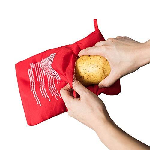 FTYYSWL 1pcs Red Washable Cooker Bag Mikrowelle Backkartoffeln Bag Rice Pocket Kochwerkzeuge Einfach Zu Kochende Küchengeräte Backwerkzeug