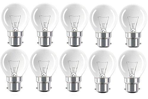 10Stück Status Classic Mini Globes 25W, BC B22B22d, Klare runde Glühbirnen, Bajonettsockel, Golfball weißglühend Dimmbar P45/G45Lampen, 210Lumen, 240V