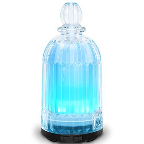LATITOP Aroma Diffuser Ultraschall Aromatherapie Diffusor für ätherische Öle mit 7-farbigen LED-Leuchten, automatische Abschaltfunktion (Schwarz)