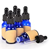 StonyLab 15ml (0.5 oz) 6-Pack, Cobalt Glass Dropper Bottle, Blue Empty Glass Bottle with Glass Dropper, Inner Plug and Label for Essential Oils Aromatherapy Fragrances