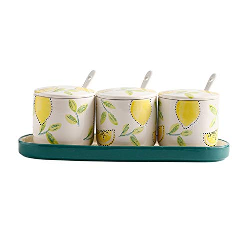 Condiment Container Porcelain Condiment Jar Spice Container with Lids - Ceramic Serving Spoon and Tray - Best Pottery Cruet Pot for Your Home, Kitchen, Counter. 200 ML (6.8 OZ), Set of 4 Kitchen Spice