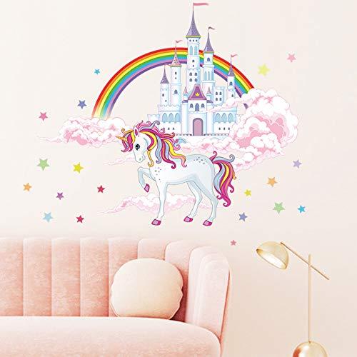 COVPAW® Wandtattoo Wandaufkleber Einhorn Prinzessin Schloss Burg Regenbogen Baby Wandsticker Wandbild Bilder Babyzimmer Schlafzimmer Spielraum Deco Kind Mädchen