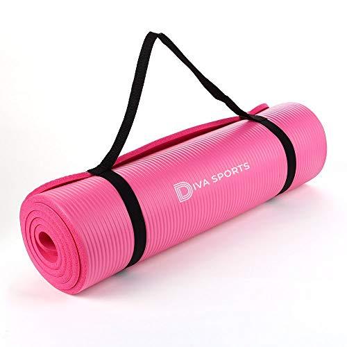 General Packaging - Esterilla de yoga extra gruesa de 15 mm, antideslizante, para pilates, entrenamiento, disponible en negro/azul/rosa (rosa)